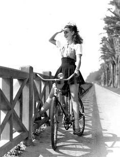 Susan Peters Riding Her Monark Bicycle Along the Pacific Palisades at Santa Monica, 1942