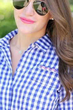 love the gingham with the pink lip!