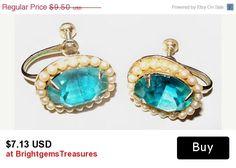 "CIJ Sale Aqua Seed Pearl Earrings Mid Century Screw Back Style Gold Metal 3/4"" Vintage"