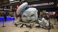 This giant marshmallow man just appeared in Waterloo station