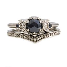 White Gold and Black Diamond Moon Ring Set  by SwankMetalsmithing