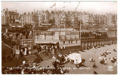 ELECTRIC RAILWAY-BUSY MARINE PARADE & BEACH, BRIGHTON 1931