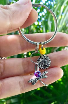 sunflower dragonfly keychain gift for flower lover gift for