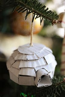 Cardboard Igloo ornament tutorial. Maybe paint white and cover with glitter?