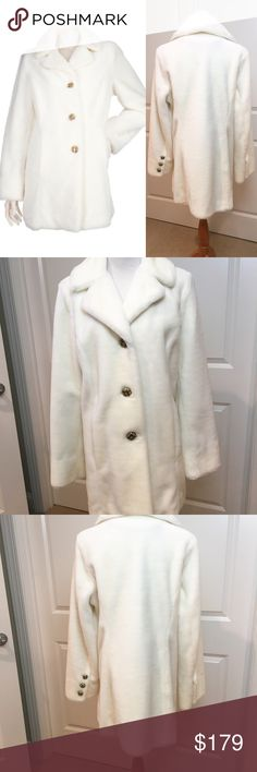 Dennis Basso Ivory Faux Fur Jacket Coat Bought this last year and never had a chance to wear it. Its now too big. Size Medium. Gorgeous Ivory faux fur. Stunning gold tone and enamel button detail. Comes with hanger and dust bag. The coat measures 31 inches long. Sleeves are 24 1/2 inches long. Fully lined. Acrylic Polyester. Extra buttons included as well. Dennis Basso Jackets & Coats