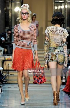 A model showcases designs on the catwalk by Vivienne Westwood Red Label on day 3 of London Fashion Week Spring/Summer 2013, at the British Foreign & Commonwealth Office on September 16, 2012 in London, England.