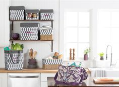 Thirty-One Gifts - Kitchen organization! Use Your Way Cubes, Your Way Rectangles, & You Way Rectangle Basket to bring organization to your kitchen. Pictured: Family Fun Thermal in Vintage Damask Essential Storage Tote in Charcoal Links