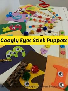 Using googly eye stick puppets for a matching number games in Spanish