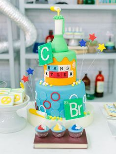 Have you seen a cuter cake for a Mad Science Birthday Party.