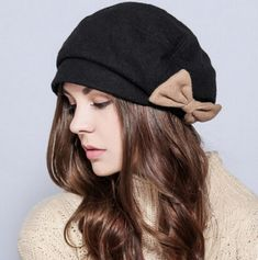 Autumn bow beret hat for women black winter hats wool