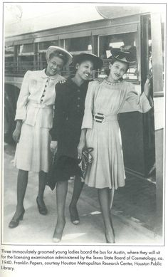 These women dress in a typical day dress during the 1940's. They are all wearing hats, because it was still important to do so outside of the house.
