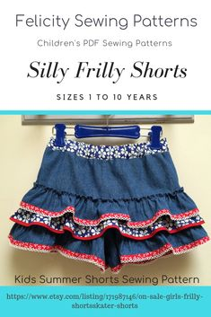 Girls frilly shorts pdf sewing pattern by Felicity Sewing Patterns. Sizes 1 to 10 years. Summer shorts, mini skirt , skater skirt.