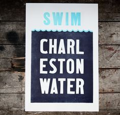 Charleston Water // Letterpress print on 100% Cotton // 10 from the sale of each print goes to the Charleston Waterkeeper for 'Protecting Charleston's right to swimmable, drinkable, fishable water.' // $42