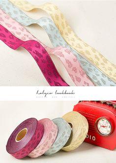 Pastel Jacquard Fabric Ribbon / 2.5cm 4cm / 4 Color /  by HOLYCO #Fabric #ribbon