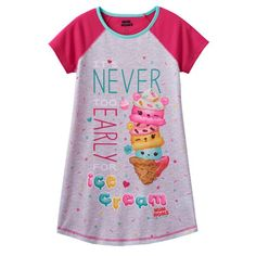 """Girls 4-10 Num Noms Connie Confetti, Nana Berry & Mintee Go-Go Scented """"It's Never Too Early For Ice Cream"""" Nightgown"""