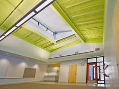 Tectum-TECTUM E Composite acoustical roof deck with EPS insulation and OSB sheathing.  Photo: Duranes Elementary School, Albuquerque, NM