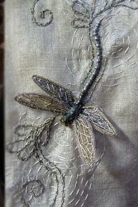"""Dragonfly detail in embroidery by Michele Carragher for """"Game Of Thrones"""" gown worn by """"Sansa Stark"""" Ribbon Embroidery, Beaded Embroidery, Embroidery Stitches, Embroidery Patterns, Vintage Embroidery, Broderie Simple, Art Du Fil, Bordados E Cia, Dragonfly Art"""