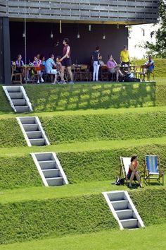 Fort Werk aan 't Spoel / Rietveld Landscape + Atelier de Lyon : 네이버 블로그 Urban Landscape, Landscape Design, Garden Design, Contemporary Landscape, Sloped Garden, Sloped Backyard, Garden Steps, Front Yard Landscaping, Landscaping Ideas