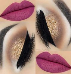 Pink lips and gold eye makeup Lady Style - Make Up 2019 Gold Eye Makeup, Skin Makeup, Eyeshadow Makeup, Eyeliner, Mac Makeup, Pink Lips Makeup, Glitter Makeup, Eyeshadows, Makeup Looks