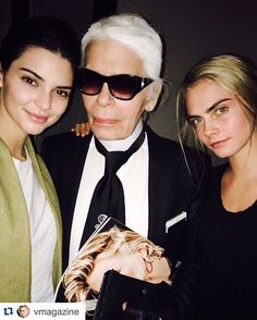 Kendall, Karl and Kara! #lovethesethree #CaKe #Repost @vmagazine・・・ Summer's around the corner! Celebrating after a shoot with @karllagerfeld, @kendalljenner, and @caradelevingne.