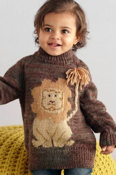 Free Knitting Pattern for Lion Pullover - Long-sleeved child's sweater with intarsia lion. To Fit Age: 2 Years to 6 Years. Designed by Natalie Bayer for Lion Brand.