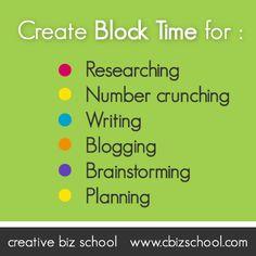 Creating BLOCK Time by Creative Biz School. Learn more at www.cbizschool.com #blogpost #creativebiz