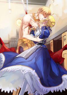 Gilgamesh & Saber |【fate stay night 】金剑双王 saber | 鸷一 [pixiv] #anime