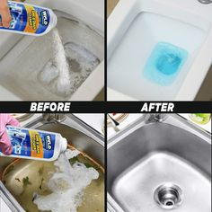 Get your drainage clear and sinks clean all at once with this multipurpose cleaner. Our Ultimate Sink & Drainage Cleaner is a unique, safe, but extremely power Natural Cleaning Solutions, Natural Cleaning Products, Household Cleaning Tips, House Cleaning Tips, Bathroom Cleaning Tips, Deep Cleaning Tips, Sink Drain Cleaner, Bathtub Cleaner, Unclog Bathtub Drain