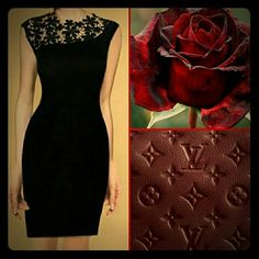 Elegant Little Lace Black Dress Gorgeous black dress with classy flower lace splicing in front. sleeveless dress, has zipper in back. Dresses Midi
