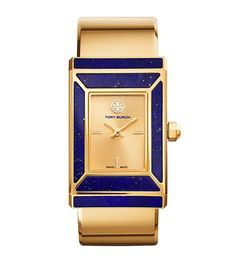 Limited Edition Tory Burch watch, Gold Tone/Lapis