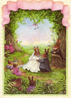 """The Forest Wedding"" illustration, by Susan Wheeler. Susan Wheeler, Forest Creatures, Woodland Creatures, Bunny Art, Cute Bunny, Bunny Painting, Art Carte, Motifs Animal, Cute Little Animals"