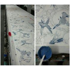 Screen printing our Taxidermy Birds wallpaper #screenprinting #wallpaper #studio #workshop #design #craft #craftsman #birds #illustration #taxidermy #silkscreen #danielheath #danheathstudio #craftmanship #artisan