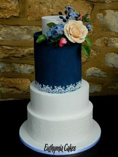 Dark Blue n White Lace Wedding Cake