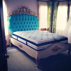 Night's Dream Tufted Bed - Gold & Cream - Custom Made - Client Photo