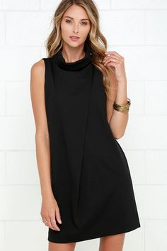Architecturally Inclined Black Dress
