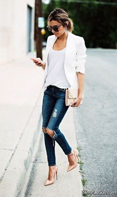 Casual Outfits For College an Casual Chic Outfits below Casual Summer Outfits Fo. Blazer Outfits Casual, Stylish Work Outfits, Basic Outfits, Blazer Fashion, Classy Outfits, Blazer And Jeans Outfit Women, White Jacket Outfit, White Blazer Women, Cochella Outfits
