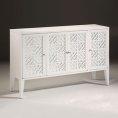 "Rectangular credenza with lacquered white finish,four doors with mirrored panels and openwork design, one shelf inside; 59¾""w. x 16"" d. x 37¼"" h. DecorativeCrafts.com #DecorativeCrafts #Chests #Chest #Cabinet #Cabinets #Imported #InteriorDesign #Interior #Design #InteriorDecor #Decor #Furnishings #Furniture #Opulent #Luxurious #Designer"