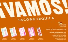 Vamos! Located at 348 First Avenue. Enjoy their signature margaritas/cocktails with a great selection of Mexican food on the menu!  On warm days, outdoor seating is available.