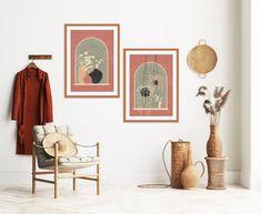 Orange Wall Art, Green Wall Art, Modern Art Prints, Modern Wall Art, Bedroom Decor, Wall Decor, Mid Century Modern Art, Abstract Wall Art, Abstract Landscape