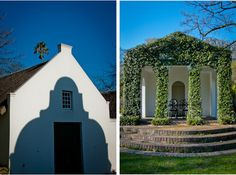The iconic crisp, white, delicately detailed Cape Dutch architecture of South Africa stands so beautifully against nature's backdrop. Cape Dutch, Dutch House, Garden Walls, Church Ceremony, Thatched Roof, Wines, South Africa, Architecture Design, Backdrops