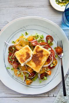 Marinated Tomato Salad with Panko Crusted Haloumi & Tomato Salad with Smoked Paprika Vinaigrette on Tartelette