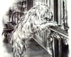Shaggy dog print from 1960s book page.Disney print Vintage childrens page Black and white classic illustration for the nursery or dog lovers