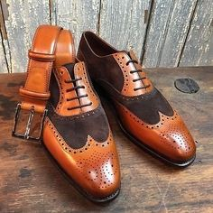 Handmade Men Two Tone Formal Shoes, Men,s Brown And Tan Wingtip Brogue Shoes - Dress/Formal