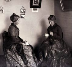 Victorian Women Drink Tea for Two