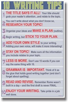 10 helpful writing tips, would be cool to make into an anchor chart or checklist.