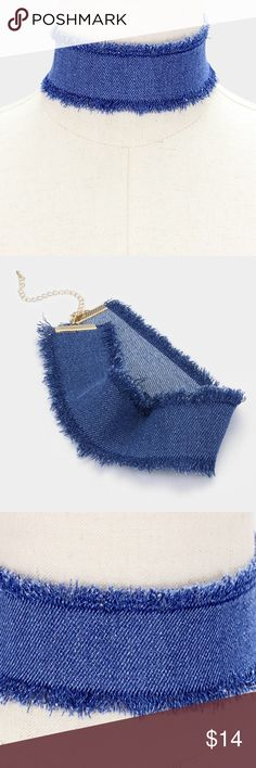 """Denim Choker Necklace [grandavenue: 323333] • Color : Blue  • Necklace Size : 12"""" + 4"""" L • Decor Size : 2"""" H • Denim choker necklace with frayed edge Jewelry Necklaces"""