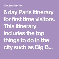 6 day Paris itinerary for first time visitors. This itinerary includes the top things to do in the city such as Big Bus Hop-On Hop-Off tour, Louvre Museum, Notre Dame Cathedral, and more! Save money on Paris attractions when you buy the Paris Pass.