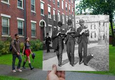 Cool photo mashup: Brown University first day of class (today vs. 1888).