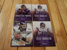 KYLE RUDOLPH CHRISTIAN PONDER 2013 Panini Absolute Prestige (4) Card Lot Vikings