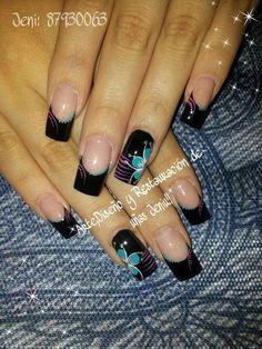 Uñas Cute Nails, Pretty Nails, My Nails, Hair And Nails, Pearl Nails, Silver Nails, New Nail Art, Acrylic Nail Art, Diy Nail Designs